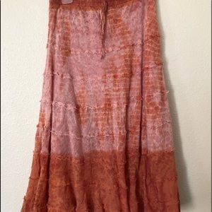 Distressed Hippie Midi Skirt Size Womens XL